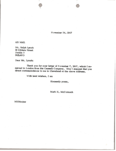 Letter from Mark H. McCormack to Ralph Lynch