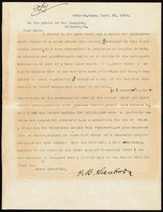 Copy of a letter from Franklin Benjamin Sanborn, Concord, Mass., Sept. 21, 1894