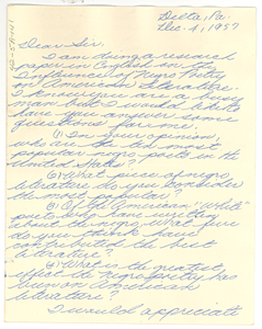 Letter from Margaret Ritchie to W. E. B. Du Bois