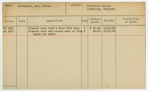 [Client Card: Mrs. Elisha Barksdale] Roman Bronze Works Client Card Index