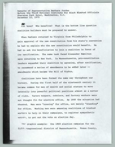 Remarks of Representative Barbara Jordan Before the Third National Institute for Black Elected Officials Texas Senate Papers