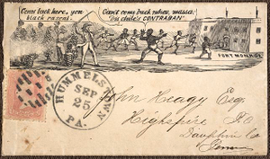 [Civil War envelope showing slave master holding whip as slave attempts to go to Fort Monroe, Hampton, Virginia]