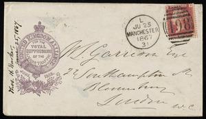Letter from Thomas Holliday Barker, United Kingdom Alliance, 41 John Dalton Street, Manchester, [England], to William Lloyd Garrison, June 25, 1867