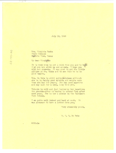 Letter from W. E. B. Du Bois to Virginia Banks
