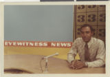 Photograph of Roosevelt Toston at his first broadcasting job, circa 1972