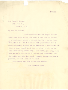Letter from W. E. B. Du Bois to James H. Gordon