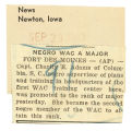 Thumbnail for Negro WAC a Major; News (Newton, Iowa); Women's military activity