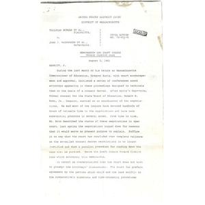 Memorandum and draft orders toward closing case
