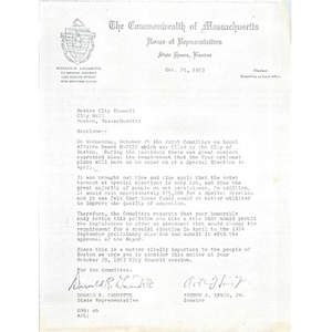 Letter, Boston City Council, October 25, 1973