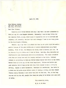 Letter from W. E. B. Du Bois to Barbara Lindsay
