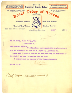 Letter from Robert W. Goff to F. M. Murray