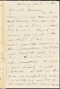 Letter from Aaron Macy Powell, Albany, [N.Y.], to William Lloyd Garrison, Jan[uary] 4, 1862