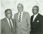 Alex Haley, Robert Wherle, Leon Modeste at Harriet Tubman Annual Dinner, 1987-10