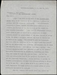 Cattell, James McKeen, 1860-1944 typed letter (copy) to J. Mark Baldwin, Garrison-on-Hudson, 14 May 1904