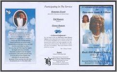 A celebration of life and homegoing for Deaconess Annie B. Gibson, 12 noon, Saturday, October 29, 2016, Rock Hill Baptist Church, 130 Rock Hill Road, Saluda, S. C., Reverend Herbert Martin, pastor/presiding, Reverend R. C. Holloway, eulogist