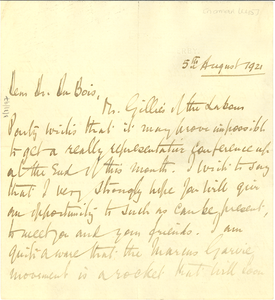 Letter from Norman Leys to W. E. B. Du Bois