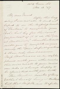 Letter from Sarah Pugh, 1014 Green St., [Philadelphia, Penn.], to Maria Weston Chapman, Nov. 13, [18]57