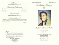 In loving memory of Andrew Clarence Moton, Friday, May 27, 2011, 11:00 a.m., First Seventh Day Adventist Church, 1400 Magnolia Street, Thomasville, Georgia, Elder K. Paramore, Sr., officiating minister