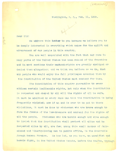 Circular Letter from Niagara Movement to African American politicians