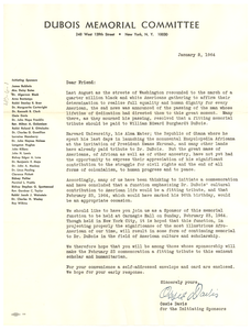 Circular letter from Du Bois Memorial Committee to unidentified correspondent