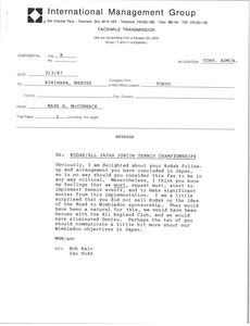 Fax from Mark H. McCormack to Hiroshi Kurihara