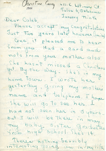 Letter from Christine Carey to Caleb Foote