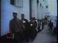 WSB-TV newsfilm clip of Civil Rights demonstrators protesting segregation at downtown movie theaters in Nashville, Tennessee, 1961 February