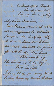 Letter from George Thompson, South Lambeth, London, [England], to William Lloyd Garrison, 1867 June 13