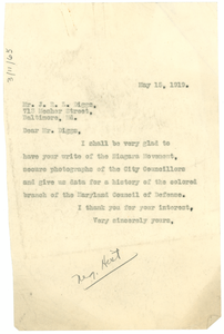 Letter from W. E. B. Du Bois to James R. L. Diggs