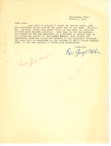 Letter from George Abbe to National Committee to Defend Dr. W. E. B. Du Bois and Associates in the Peace Information Center