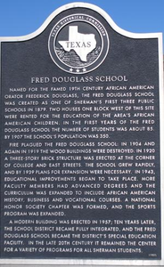 [Texas Historical Commission Marker: Fred Douglass School]