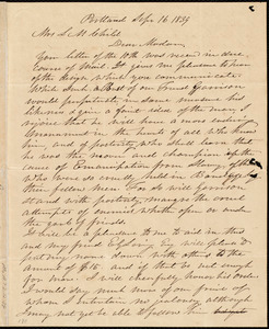 Letter from Samuel Fessenden, Portland, [Maine], to Lydia Maria Child, Sept'r 16, 1839