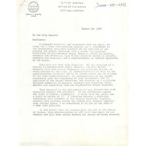 Letter, Boston City Council, August 14, 1973