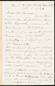 Letter from Aaron Macy Powell, West Winfield, N.Y., to William Lloyd Garrison, Oct[ober] 18, 1860