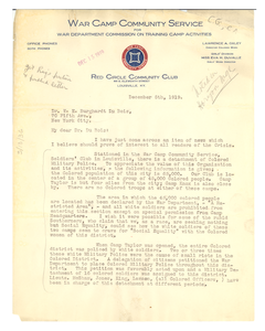 Letter from War Camp Community Service to W. E. B. Du Bois