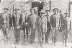 Left to right : Plenty Payne, Billy July, Ben July, Dembo Factor (civilian clothes), Ben Wilson (back row), John July, William Shields; John Jefferson, Informant, January 1889
