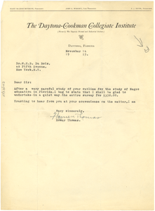 Letter from Homer Thomas to W. E. B. Du Bois