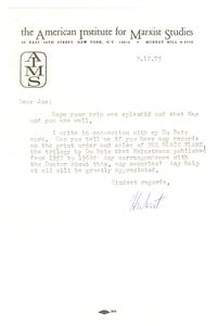 Letter from Herbert Aptheker to Joseph Felshin
