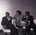 "Film negative of James ""Stump"" Cross, Rosita Davis, and Harold ""Stumpy"" Cromer at Moulin Rouge, July 30, 1955"