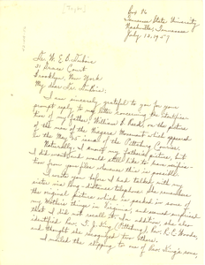Letter from Wilhelmena Reed Taylor to W. E. B. Du Bois