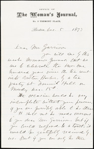 Letter from Lucy Stone, Boston, [Massachusetts], to William Lloyd Garrison, 1873 Dec[ember] 5