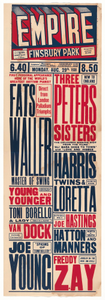 Poster advertising Fats Waller's performance at Empire Theatre at Finsbury Park