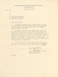 Letter from Quarterly Review of Higher Education Among Negroes to W. E. B. Du Bois
