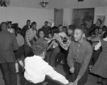 African American teenagers dancing at radio station WRMA in Montgomery, Alabama, during a show hosted by teens.