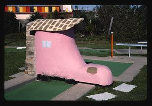 Shoe angle 1, Stewart Beach mini golf seawall, Galveston, Texas