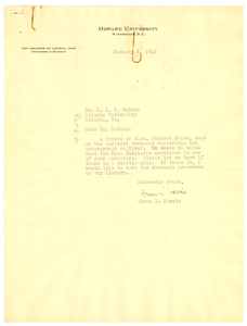 Letter from Abram L. Harris to W. E. B. Du Bois