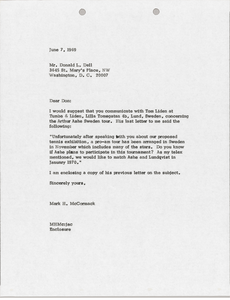 Letter from Mark H. McCormack to Donald L. Dell