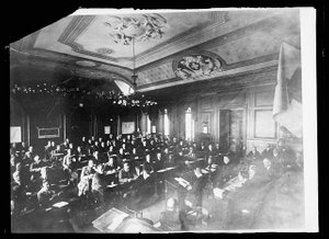 Meet in Historic Hall. Delegates from thirty nations met in the first general conference of the League of Red Cross Societies held in the famous Salle de l'Alabama in Geneva. It was in this hall that the treaty was concluded between the United States and Great Britain putting to an end the dispute arising out of the Civil War over the Battleship Alabama. It was claimed that the vessel had been built by the British for the confederate states and had sunk union boats. A claim for reparation was filed and the dispute settled in this hall. This picture shows delegates to the convention in their first session