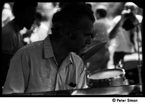 Dave Brubeck playing with the Cannonball Adderley Sextet (Roy McCurdy in the background), performing at Jackie Robinson's jazz concert