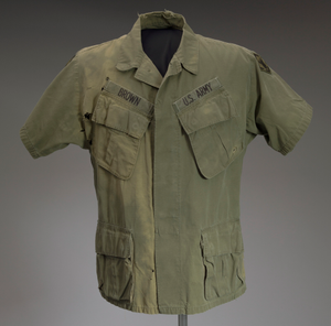 Military fatigue shirt worn by James E. Brown of the 20th Engineer Brigade